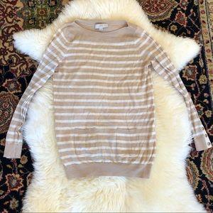 Ann Taylor Loft Beige Striped Sweater w/ Pockets
